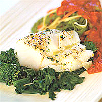 Cod over Spinach with Tomato puree