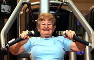 70 yr Old on workout machine Lead-crop 389