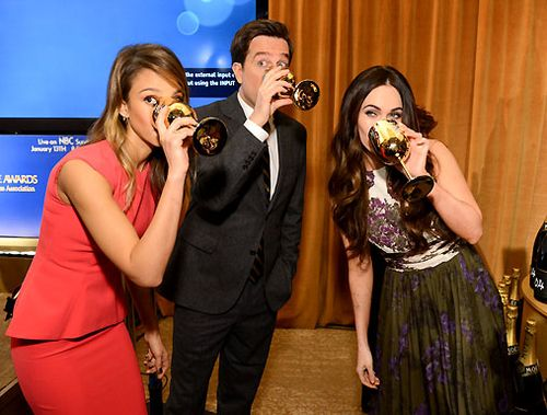 Jessica Alba Ed Helms and Megan Fox sip Moet at GG nominations