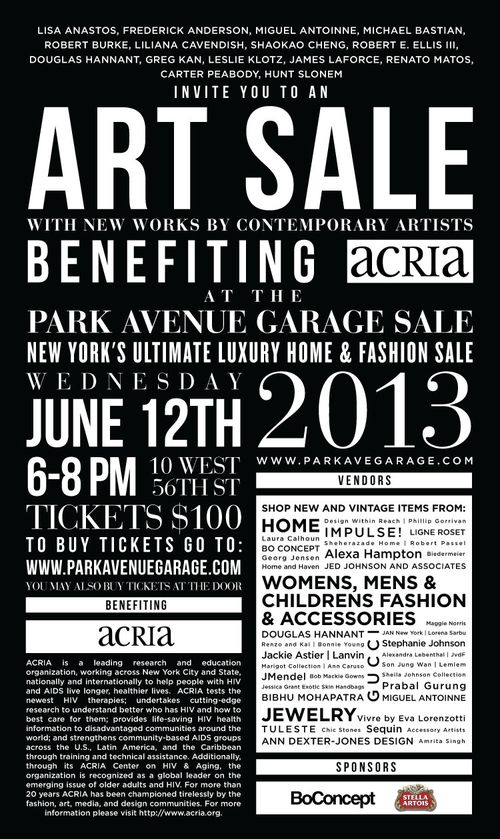 Park Avenue Garage Sale to Benefit ACRIA Jun 12 @ 10 West 56th Street