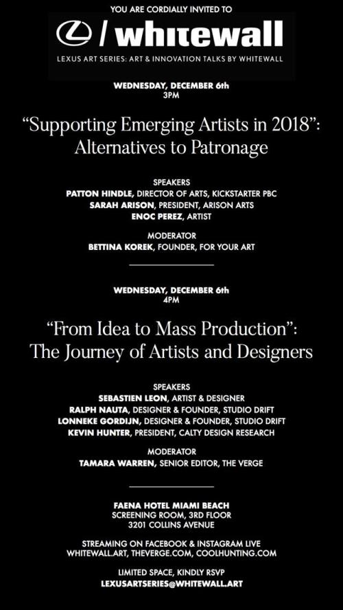 "MIAMI: ""Supporting Emerging Artists in 2018"": Alternatives to Patronage Dec 8 @ Faena Miami"