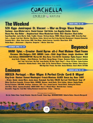 LOS ANGELES: 2018 Coachella Apr 13-15 @ Empire Polo Club