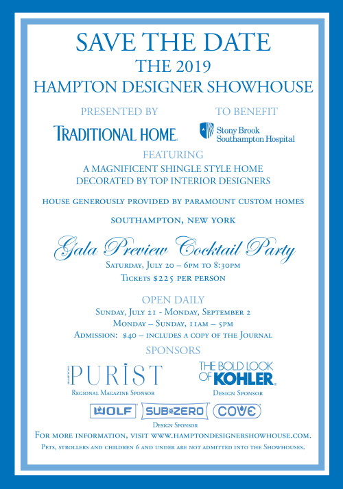 THE HAMPTONS: 2019 Hampton Designer Showhouse Gala Preview July 20 @ TBD
