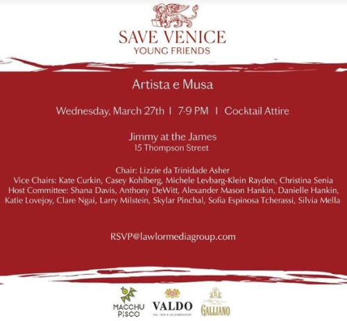 NEW YORK:  2019  Young Friends of Save Venice Artista e Musa Mar 27 @  Jimmy at the James