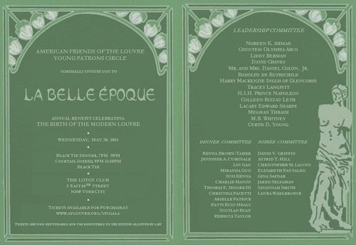 AFL Young Patrons Circle Gala--La Belle Epoque May 20  @ The Lotos Club