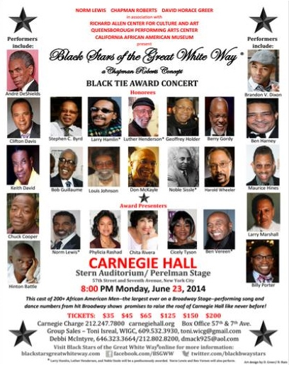 Black Stars of the Great White Way  Jun 23 @ Carnegie Hall
