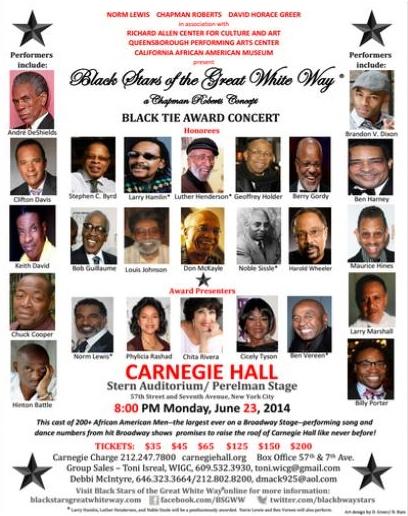 Black Stars of the Great White Way  Jun 23 @ Carnegie Hall