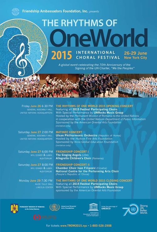 The Rhythms of One World Festival 2015 June 26,27, 29 @ Various Locations