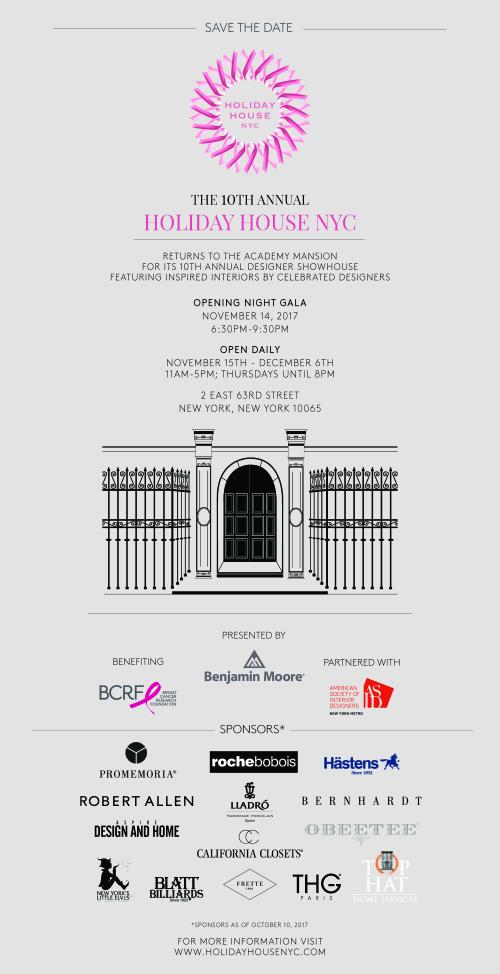 NEW YORK: 10th Annual Holiday House NYC Design Show Nov 14 @ 2 E. 63rd St