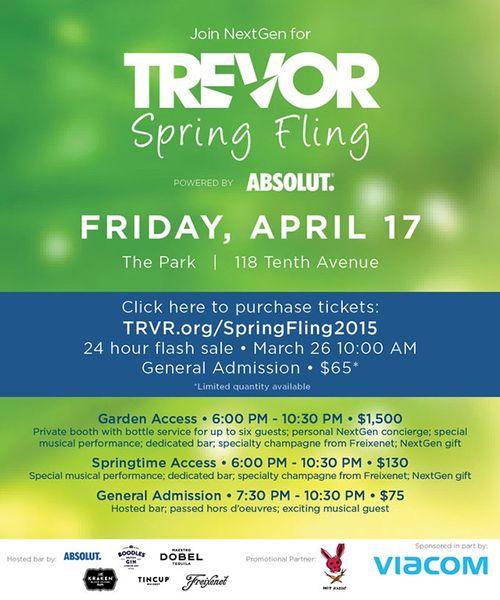 Trevor Project Spring Fling Apr 17 @ The Park