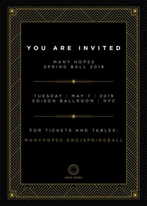 NEW YORK: Many Hopes Ball 2019 May 7 @ Edison Ballroom