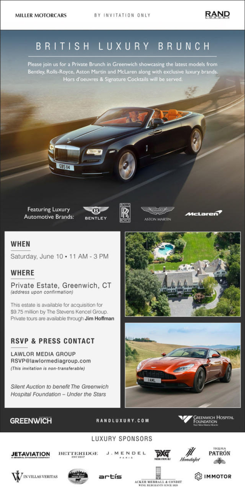 GREENWHICH: Rand Luxury Brunch w/ Aston Martin,Bentley Motors, McLaren & Rolls-Royce June 10th @ TBA