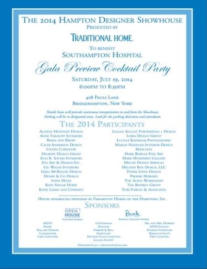 2014 Hampton Designer Showhouse Gala Preview Cocktail Party Jul 19 @ Private Res., Bridgehampton