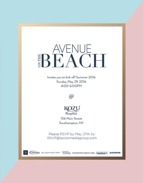 Avenue Beach Memorial Wkd. Summer Kick-Off  May 29 @ Kozu Hamptons