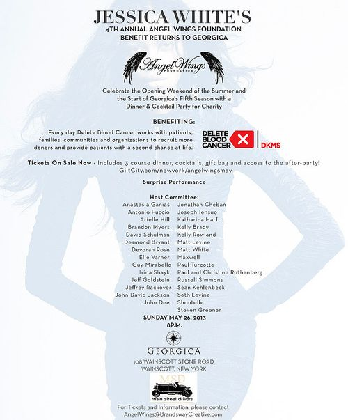 Jessica White's 4th Annual Angel Wings May 26 @ Georgica