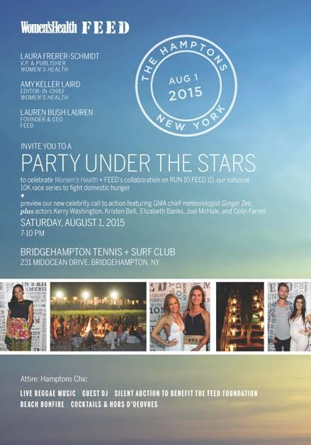 Women's Health & Feed Party Under the Stars Aug. 1 @ Bridgehampton  Tennis & Surf
