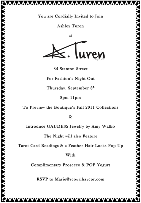 A. Turen Fashion's Night Out Sep 8 @ A. Turen
