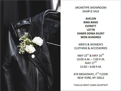 SAMPLE SALE: Archetype Showroom Spring 2014 May 15-May 17 @ 676 Broadway