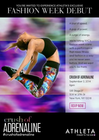Athleta's Crush of Adrenaline Sep 3rd @ Sir Stage 37