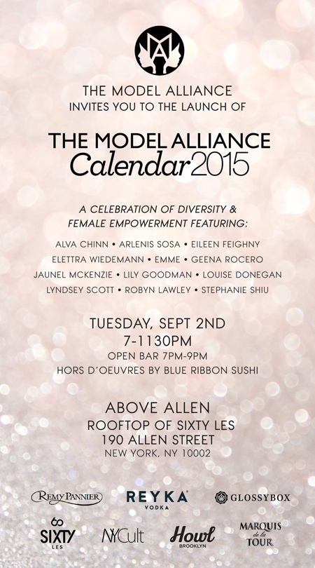 2015  Model Alliance Calendar Launch Sep 2nd @ Above Allen
