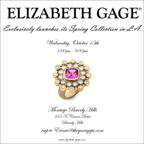 LOS ANGELES: LA Fashion Week: Elizabeth Gage Preview Oct 15 @ Montage Beverly Hills