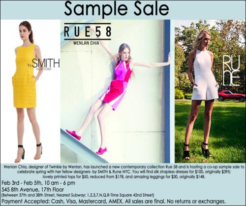 SAMPLE SALE: Rue 58, SMITH, RUNE NYC Co-op Sample Sale Feb 3-5
