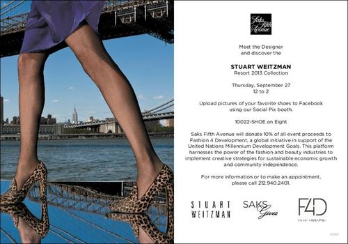 Stuart Weitzman Resort 2013 Collection  Sept. 27 @ SAKS