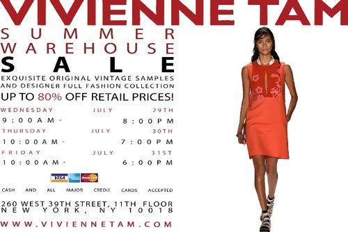 NEW YORK: SAMPLE SALE: Vivienne Tam Summer Warehouse Sale July 29-July 31st