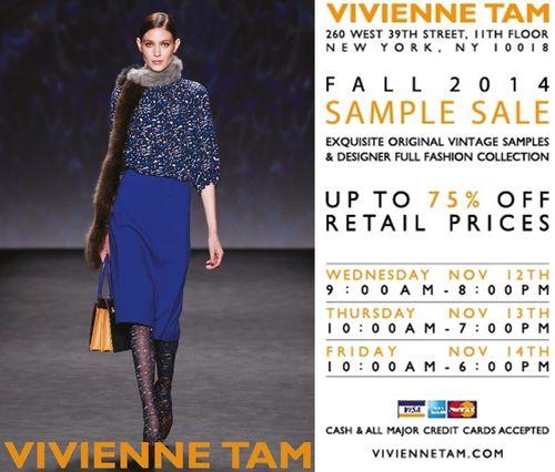 SAMPLE SALE: Vivienne Tam Fall 2014 Nov 12-14 @ 260 W 39th St