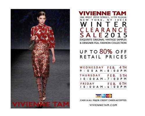 SAMPLE SALE: Vivienne Tam Winter 2015 Feb 4-6 @ 260 W 39th St, 11th flr