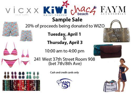 SAMPLE SALE: Apr 1  & Apr 3 @ 241 West 47th St