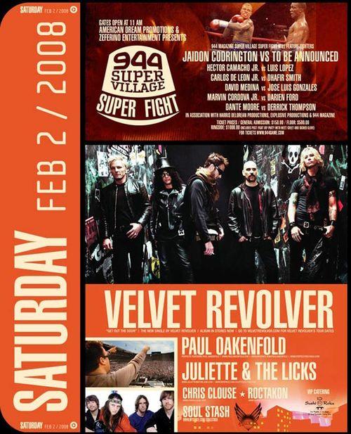 Super Village Super Fight, Velvet Revolver Feb 2nd  @ 944 Village, Scottsdale Waterfront-AZ