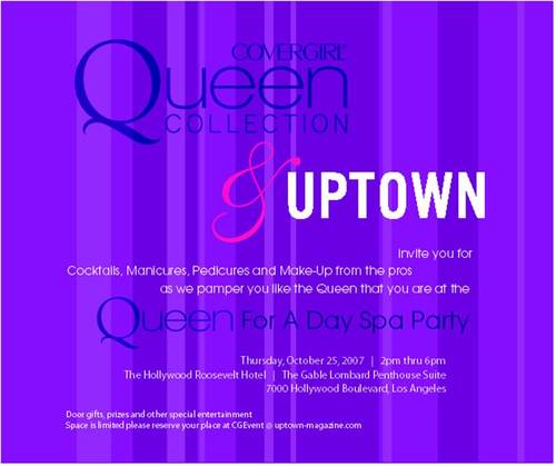 Covergirl Queen for a Day Spa Party Oct 25 Hollywood Roosevelt Hotel