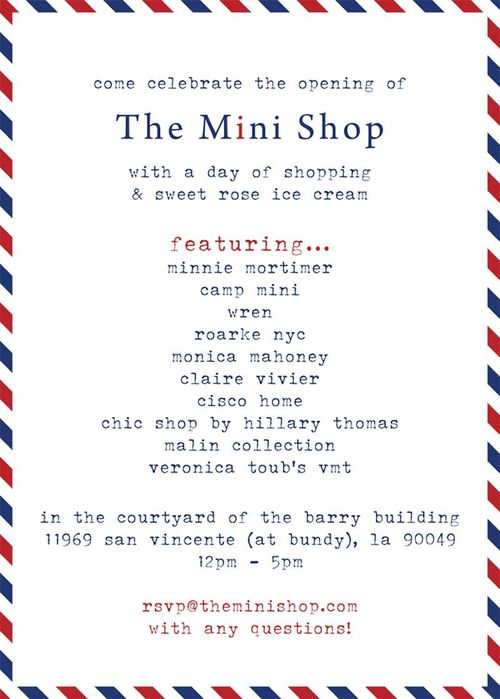 The Mini Shop Launch May 12 @ The Barry Building