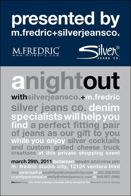 Silver Jeans Launch Mar 29 @ M. Frederic
