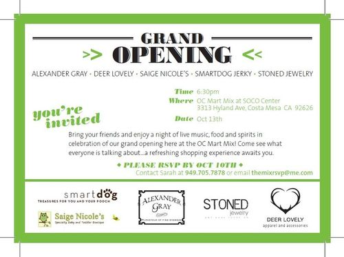Grand Opening Oct 13 @ OC Market Mix at SOCO Center