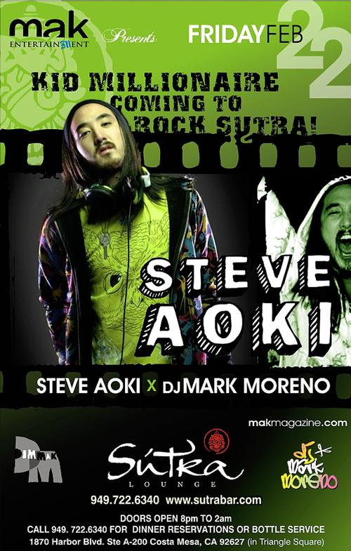 DJ Steve Aoki Feb 22 @ Sutra